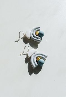 New earrings in soft colors from spring collection! These gorgeous drop earrings will add some WOW to your outfit and to your day. :) Please be conscious of the clay´s delicate nature, as forced movement and dropping may caused the clay to crack or break. Each bead is shaped, cut and sanded