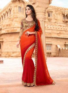 Red & Orange party wear Indian half designer saree with blouse I15414