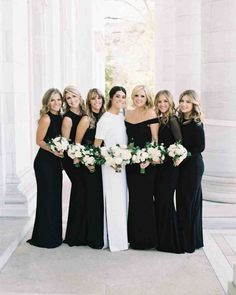 A Modern, Black-Tie Wedding in Washington, D.C. | Martha Stewart Weddings - Arielle's six best friends from college served as her bridesmaids, and wore different black dresses from Alice & Olivia, Norma Kamali, Nicole Miller, and Halston Heritage.