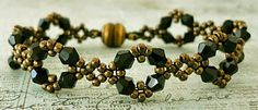 Linda's Crafty Inspirations: Bracelet of the Day: Double Diamond - Black--11/0 seed beads metallic gold (HL),  4mm bicones black,  8mm Czech faceted bead hemitate (HL) for clasp