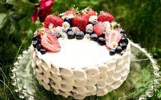 Ovocný dort s mascarpone Food And Drink, Strawberry, Birthday Cake, Cupcakes, Healthy Recipes, Baking, Harry Potter, Craft, Mascarpone