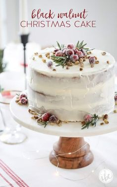 This Black Walnut Cake is a delicious Christmas Cake perfect for the holiday season! This Black Walnut Cake is a delicious Christmas Cake perfect for the holiday season! Holiday Cakes, Christmas Desserts, Christmas Treats, Christmas Baking, Christmas Recipes, Christmas Cookies, New Year's Desserts, Cute Desserts, Black Walnut Cake
