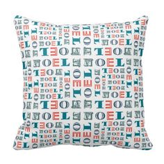 Noel Christmas Holiday Mixed Typography Pattern Pillows