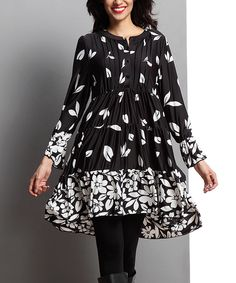 Love this Black Falling Leaf Tiered Notch Neck Tunic by Reborn Collection on #zulily! #zulilyfinds
