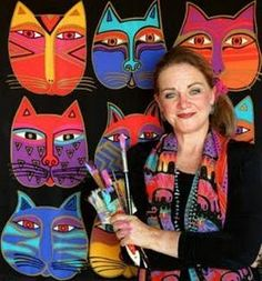 These are cat faces inspired by Laurel Burch.There's Laurel Burch lessons all over, but I don't think I've seen one d. Laurel Burch, Art 2nd Grade, Grade 3, Classe D'art, Arte Country, School Art Projects, Art Lessons Elementary, Art Lesson Plans, Art Classroom