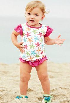 Baby Rashguard and Ruffle Bottom Swimsuit - Garnet Hill Kids