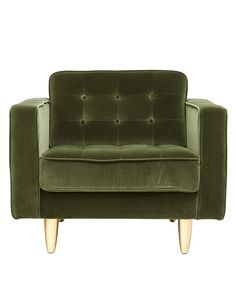 Mix and match with this gorgeous mossy green velvet Luxe Chair. Sophisticated and luxurious, this chair features big arms and is available in other colours.