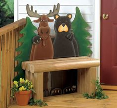 moose bear bench wood | Bear & Moose Decor