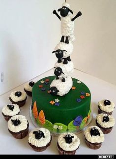 Shaun the Sheep Cake and cupcakes .how many times will I get asked for this one :-) Shaun the sheep mad in our family Beautiful Cakes, Amazing Cakes, Shaun The Sheep Cake, Eid Cake, Sheep Cupcakes, 4th Birthday Cakes, Boy Birthday, Farm Cake, Cereal Treats