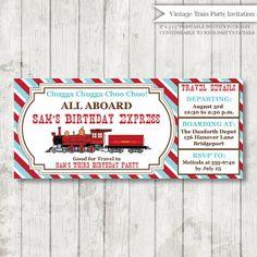 Custom Vintage Train Birthday Invitation - Train Themed Party - Boy Girl Birthday - Train Ticket Invitation - Digital Design on Etsy, $16.00