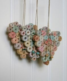 Coiled Paper Heart Ornament, Recycled and Reused Paper, Neutral Natural Pastel Hues, Handmade, Small on Etsy Recycled Paper Crafts, Newspaper Crafts, Recycled Magazine Crafts, Recycled Home Decor, Rolled Paper Art, Book Page Crafts, Quilled Creations, Arts And Crafts, Diy Crafts