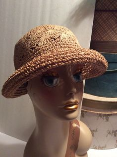 c524b5c3264 Vintage Rolled Brim Crochet Straw Hat by MyVintageHatBox on Etsy Brim Hat