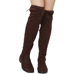 Boohoo Erin Tie Back Flat Over The Knee Boot ($70) ❤ liked on ...