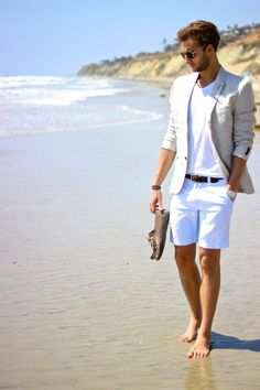 Shop this look on Lookastic: http://lookastic.com/men/looks/v-neck-t-shirt-belt-watch-driving-shoes-sunglasses-blazer-shorts/10374 — White V-neck T-shirt — Dark Brown Leather Belt — Silver Watch — Brown Leather Driving Shoes — Black and Gold Sunglasses — Grey Seersucker Blazer — White Seersucker Shorts