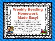 This file contains fluency, spelling and sight word practice for 15 weeks of homework. The words used are based on the Journeys Reading series and go along with lessons 1-15. There are 2 pages for each week that can be copied front to back. Each night students will practice their reading fluency by reading sentences using their sight words.
