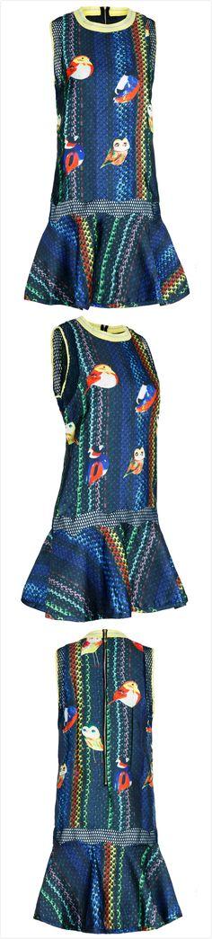 Women's Round Neck Sleeveless Bird Print Dress With Flounce Hem