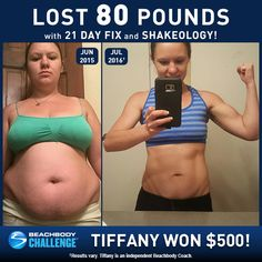See how Tiffany lost 80 pounds with 21 Day Fix + Shakeology! // results // before and after picture // weight loss // transformation // success stories // fitness // exercise // nutrition // women's results // Beachbody Challenge // Beachbody Coach // BeachbodyBlog.com