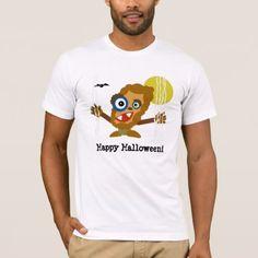 Brown Wolfman Yellow Moon Halloween T-Shirt - Halloween happyhalloween festival party holiday