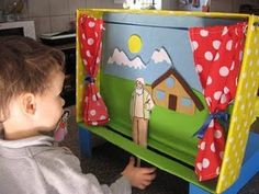 Stick puppet theatre another great craft activity... If girls made their own stage and took home it would be good, and could use scenes from K books as backdrop, wooden ppl dolls