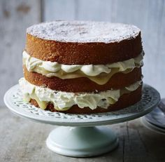 Three-tiered cake filled with lemon curd and cream recipe