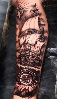 Forarm Tattoos, Forearm Sleeve Tattoos, Best Sleeve Tattoos, Tattoo Sleeve Designs, Neck Tattoo For Guys, Tattoos For Guys, Tattoo Barco, Jack Sparrow Tattoos, Nautical Tattoo Sleeve