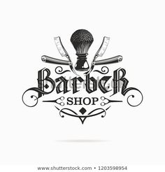 Barber Shop Logo Gothic Lettering Stock Vector (Royalty Free) 1203598954 barber shop logo with gothic lettering Barber Shop Interior, Barber Shop Decor, Gothic Lettering, Tattoo Lettering Fonts, Logo Barbier, House Of Barbers, Barber Sign, Joe Barber, Logo Professionnel