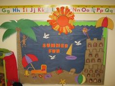 July Summer Fun Bulletin Boards and Classroom Ideas with Beach Theme - Summer Decorations For Classroom Beach Bulletin Boards, Preschool Bulletin Boards, Preschool Crafts, Bullentin Boards, August Bulletin Boards, Preschool Winter, Kids Crafts, Classroom Design, Classroom Themes