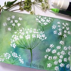 The cow parsley is just starting to flower - tried posca on watercolour background (ohn_mar_win)