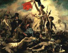 """Eugène Delacroix, """"La libertà che guida il popolo"""", 1830,olio su tela,Parigi,Musèe du Louvre."""