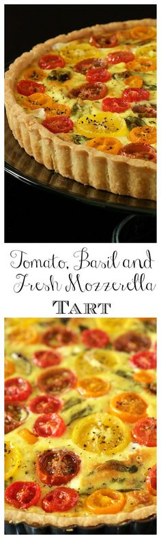 Tomato Basil and Fresh Mozzarella Tart in a super easy press-in crust, glistening jewel-hued tomatoes and lots of fresh basil this tart makes a beautiful breakfast, lunch or dinner Quiches, Vegetarian Recipes, Cooking Recipes, Pastry Recipes, Brunch, Savory Tart, Savoury Pies, Good Food, Yummy Food