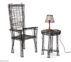 'Drawing Furniture' - Table, chair and lamp by Jinil Park -  Made from different thicknesses of wire to distort lines, creating the effect of a hand-drawn object.