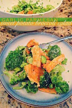 Garlic Parmesan Sweet Potato Broccoli