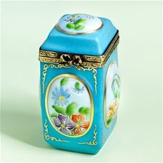 Limoges Turquoise Jar with Flowers Box The Cottage Shop