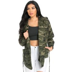 Draped Hooded Jacket in Camouflage ($50) ❤ liked on Polyvore featuring tops, hoodies, camo top, cotton hoodies, drape top, loose tops and camo hoodies
