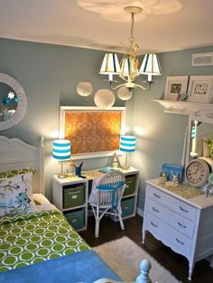 Love the accent colors! Must have a desk with storage, lamps and a framed board above my desk.