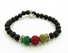 Lava Stones Men Bracelet Reggae Men Jewelry Rasta Mala by MorMalas