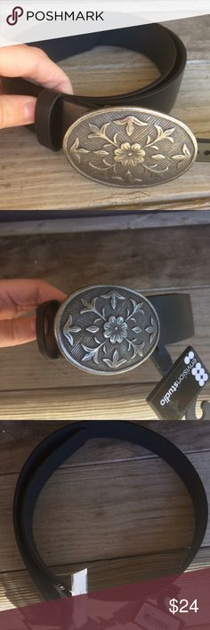 NWT Black Floral Faux Leather Belt Brand new with attached tags. Retail $24. Size large. Accessories Belts