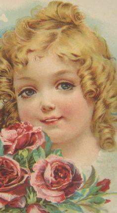 2 GIRLS w Red ROSES * Maud Humphrey