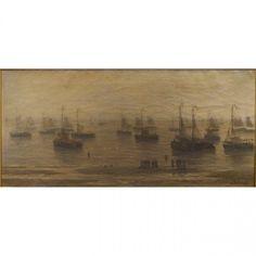Morning Fishing Boats at Anchor, Hendrik Willem Mesdag (Dutch, 1831-1915)