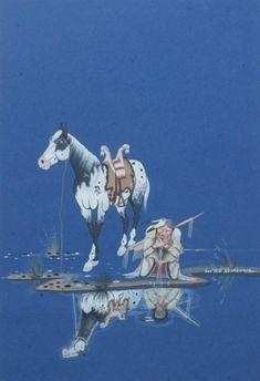 Doc Tate Nevaquaya (Native American, Drink Of Water, SignedLower Right. Native American Horses, Native American Artwork, Native American Beauty, Native American Artists, American Indian Art, Navajo Art, Batman Art, Indigenous Art, Equine Art