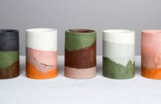 Color palette inspiration, concrete ceramic vessels