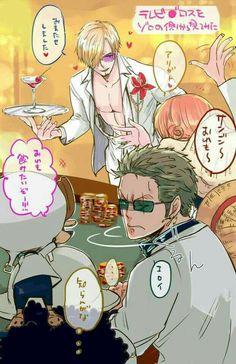 Zoro, Sanji, casino, One Piece Gold Film, movie, text, funny, chips, Chopper, Nami, white, outfits, sunglasses, Luffy, Usopp; One Piece
