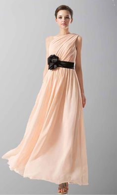 Pink One Shoulder Long Chiffon Bridesmaid Dress with Belt KSP167
