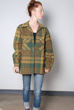 50s medium thick wool tartan plaid green brown jacket shirt mens vintage clothing lumberjack woodsman outdoors camping button up top by furhatguild on Etsy