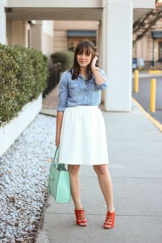 chambray and white v