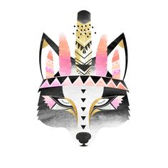 Boho Indian Wolf. Watercolour Illustration by Hello Pants