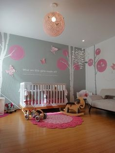 Grey and Pink Modern Nursery « Spearmint Baby Baby Bedroom, Nursery Room, Girl Nursery, Girls Bedroom, Nursery Decor, Nursery Ideas, Room Ideas, Bedroom Decor, Spearmint Baby