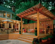Beautiful Pergola And Composite Deck Provides Nice Area For Dining Relaxing Veranda