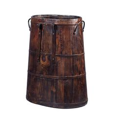 Handcrafted from natural elm with distressed finish, this antiqued wooden bucket is complete with side iron rings and handles. Each piece will have a distinct and unique look that will add to the decor of your home.