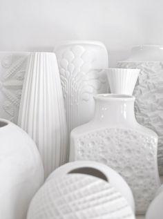 Mid-century Modernist matte white porcelain vases by artist Michaela Frey for AK Kaiser West Germany